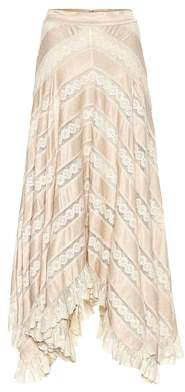 Zimmermann Unbridled satin and lace skirt