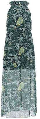 Anna Sui Split-front Printed Cotton And Silk-blend Midi Dress