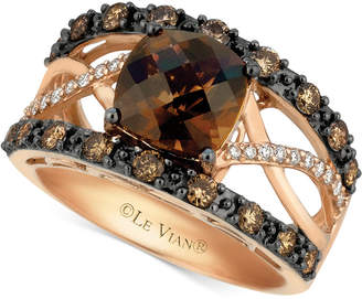 LeVian Le Vian Chocolatier® Chocolate Quartz® (2 ct. t.w.) & Diamond (3/4 ct. t.w.) Ring in 14k Rose Gold