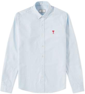 Ami Button Down Medium Heart Logo Oxford Shirt
