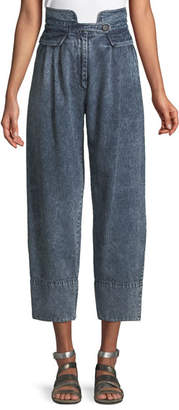 Sea Jocelyn High-Waist Acid-Wash Wide-Leg Denim Pants