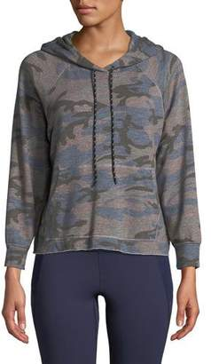 Sundry Camo-Print Cropped Pullover Hoodie