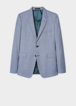Paul Smith Men's Slim-Fit Blue Houndstooth Motif Wool Blazer