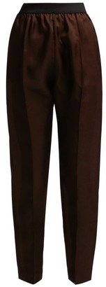Albus Lumen - Lujo High Rise Tapered Linen Trousers - Womens - Dark Brown