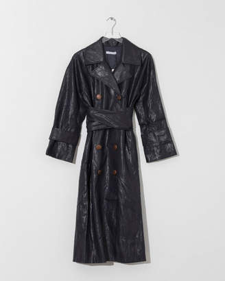 Rejina Pyo Navy Faux Leather Oil Trench