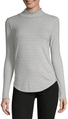 Liz Claiborne Long Sleeve Turtleneck Stripe T-Shirt-Womens