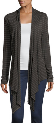 Allen Allen Asymmetric-Hem Striped Cardigan $49 thestylecure.com