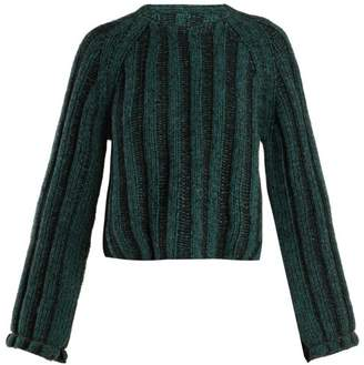 Mm6 Maison Margiela - Cropped Ribbed Knit Wool Sweater - Womens - Black Green
