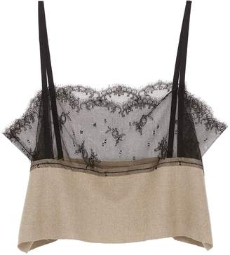 MS MIN Chantilly lace panel wool camisole top