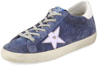 Golden Goose Superstar Suede Platform Low-Top Sneaker with Leather Star