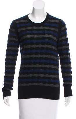 White + Warren Striped Crew Neck Sweater
