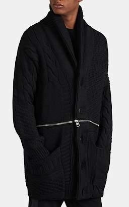 Alexander McQueen Men's Chunky Wool Convertible Cardigan - Black