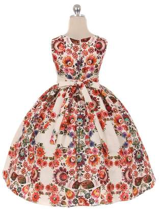 Kids Dream Amelia- Printed Floral Pattern Textured Jacquard Dress Red