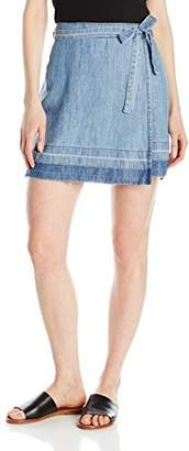 Michael Stars Women's Linen Denim Tencel Wrap Skirt