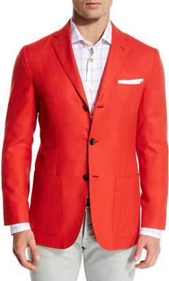 Kiton Cashmere Three-Button Blazer, Coral