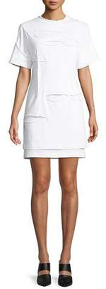 Helmut Lang Holey Distressed Crewneck Short-Sleeve Mini Dress