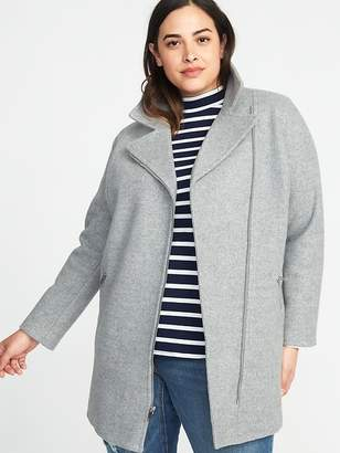 Old Navy Plus-Size Long Soft-Brushed Moto Coat