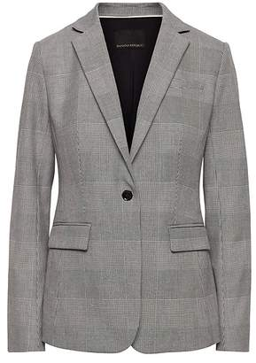 Banana Republic Long and Lean-Fit Machine-Washable Plaid Blazer