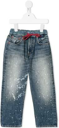 Denim Dungaree paint-splattered straight-leg jeans