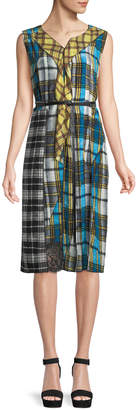 Marc Jacobs Sleeveless Pleated Front Panel Plaid Silk Dress w/ Studded Leather Belt