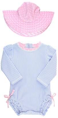 RuffleButts Ruffle Butts Seersucker One-Piece Rashguard Swimsuit & Hat Set
