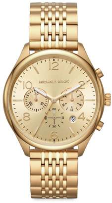 bd546a58c545 Michael Kors Merrick Chronograph Goldtone Stainless Steel Bracelet Watch