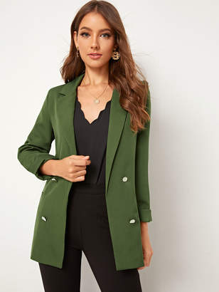 Shein Double Breasted Slit Back Notched Blazer