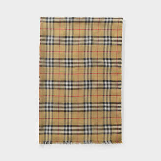 Burberry Vintage Check Metallic Gauze Scarf In Antique Yellow Wool And Silk