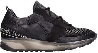 Leather Crown Black Leather Running Sneakers
