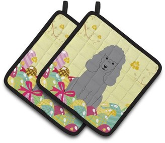 Caroline's Treasures Easter Eggs Poodle Silver Pair of Pot Holders