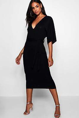 boohoo NEW Womens Tall Tie Waist Batwing Dress in Polyester 5% Elastane