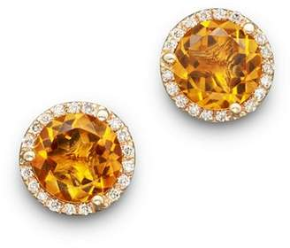 Bloomingdale's Citrine and Diamond Halo Stud Earrings in 14K Yellow Gold - 100% Exclusive