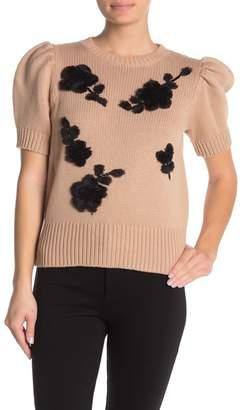 Kate Spade Faux Fur & Sequin Floral Applique Sweater