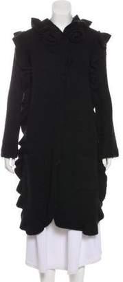 Sonia Rykiel Wool-Blend Ruffle-Trimmed Coat Black Wool-Blend Ruffle-Trimmed Coat