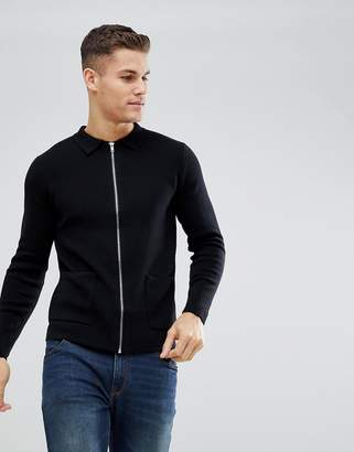 Burton Menswear Knitted Shirt Jacket In Black