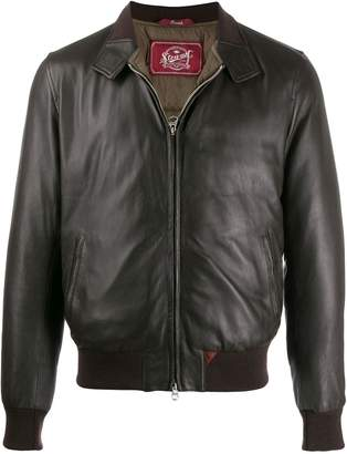 cf0bbc0b6 Mens Red Leather Bomber Jacket - ShopStyle