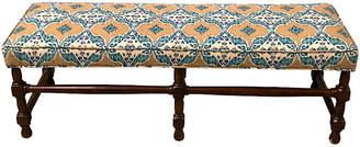 One Kings Lane Vintage Carved Walnut Bench in Ikat - Von Meyer Ltd.