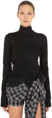 Y/Project Fringed Jersey Turtleneck Top