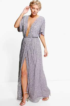 boohoo Boutique All Sequin Tie Back Maxi Dress