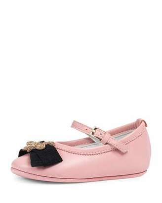 Gucci Leather Ballet Flat w/ Bee, Pink, Infant $295 thestylecure.com