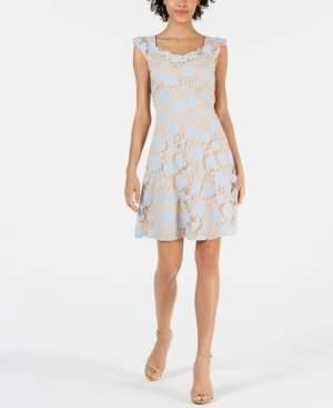 Monteau Petite Floral-Lace Overlay Dress