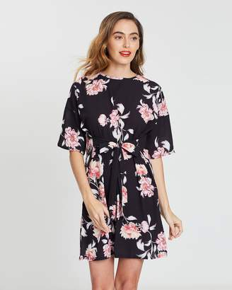 Missguided Tie Front T-Shirt Dress