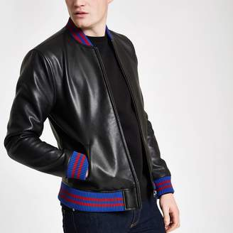 Mens Black faux leather tipped bomber jacket