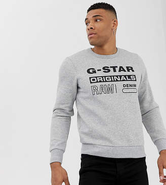 G Star G-Star G-star Originals logo crew neck sweat in gray Exclusive at ASOS