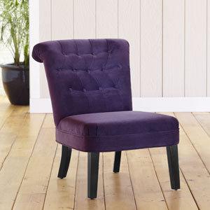 Austen Tufted Velvet Armless Chair, Plum