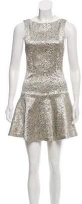 Alice + Olivia Brocade Flounce Dress Silver Brocade Flounce Dress
