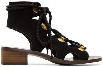 See by Chloe Black Suede Gladiator Tie Sandals