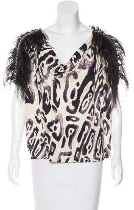 Emilio Pucci Printed Ostrich Feathered & Studded Embellished Top
