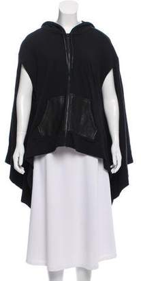 Alexander Wang Leather-Trimmed Cape Sweatshirt