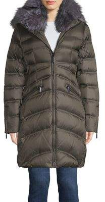 Dawn Levy Cloe Fox-Fur Trim Quilted Walker Coat